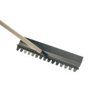 Dual faced steel rake steel head and straight broom handle, available from Speedcrete, United Kingdom.
