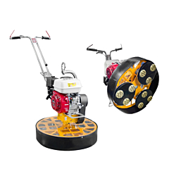 The Barikell Mosquito pedestrian power trowel can be hired with the capability of being a floor polisher. Available from Speedcrete, United Kingdom.