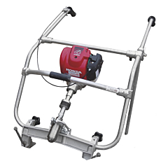 Two handed screed assembly power unit powered by Honda GX35 4 stroke engine. Hire levelling equipment from Speedcrete, United Kingdom.